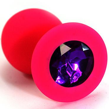 Kanikule Средняя анальная пробка, розовая С темно-фиолетовым кристаллом kanikule средняя анальная пробка розовая с радужным кристаллом