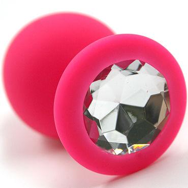 Kanikule Большая анальная пробка, розовая С прозрачным кристаллом анальная пробка pretty love