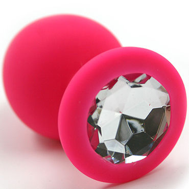 Kanikule Средняя анальная пробка, розовая С прозрачным кристаллом анальная пробка в виде сердца стальная черная с малиновой вставкой s в коробочке