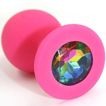 Kanikule Средняя анальная пробка, розовая С радужным кристаллом анальная пробка из алюминия kanikule фиолетовая