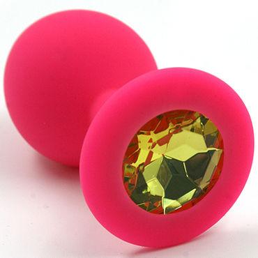 Kanikule Средняя анальная пробка, розовая Со светло-желтым кристаллом you2toys black velvets большая анальная пробка