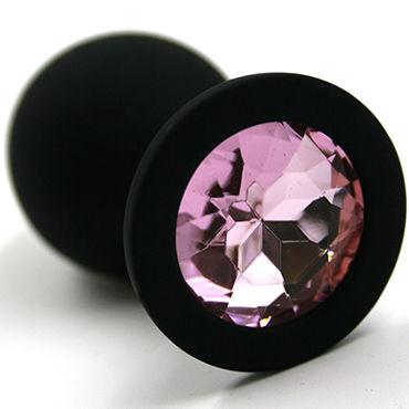 Kanikule Большая анальная пробка, черная С розовым кристаллом djaga djaga анальная пробка с живым цветком