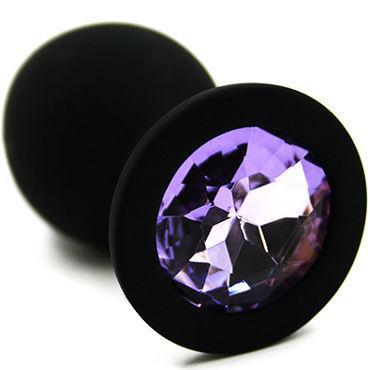 Kanikule Средняя анальная пробка, черная Со светло-фиолетовым кристаллом doc johnson realistic cock 20 см коричневый реалистичный фаллоимитатор на присоске