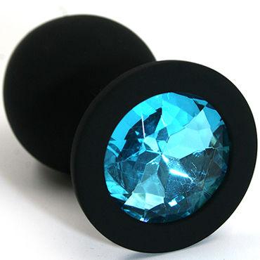 Kanikule Средняя анальная пробка, черная С голубым кристаллом gopaldas anal rod розовый анальный стимулятор на жесткой сцепке