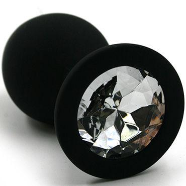 Kanikule Большая анальная пробка, черная С прозрачным кристаллом интимная игрушка spm spm0084