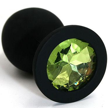 Kanikule Средняя анальная пробка, черная Со светло-зеленым кристаллом kanikule средняя анальная пробка черная с красным кристаллом