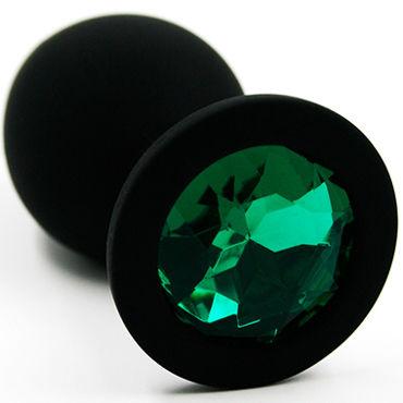 Kanikule Средняя анальная пробка, черная С темно-зеленым кристаллом анальная пробка из алюминия kanikule фиолетовая
