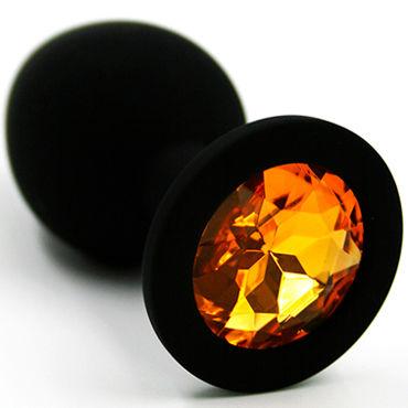 Kanikule Средняя анальная пробка, черная Со светло-желтым кристаллом боди men s dreams розовая кокетка os