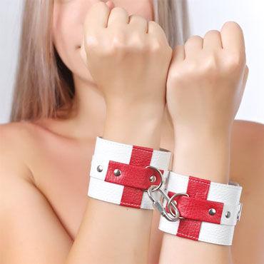 Sitabella Наручники белый С красными крестами sitabella наручники серебристо голубой с подкладкой из искусственного меха
