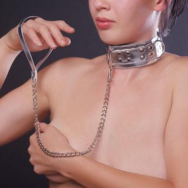 Sitabella Ошейник серебристо-голубой С меховой подкладкой и поводком массажное масло hot massage oil жасмин 100 мл