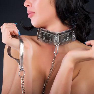 Sitabella Ошейник серебристо-розовый С меховой подкладкой и поводком sitabella наручники серебристо голубой с подкладкой из искусственного меха