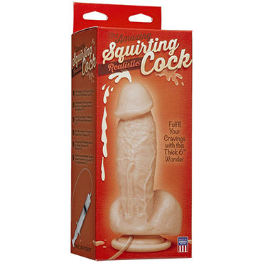 Doc Johnson Squirting Realistic Cock Фаллоимитатор с имитацией семяизвержения набор для бондажа ultimate bed restraint system