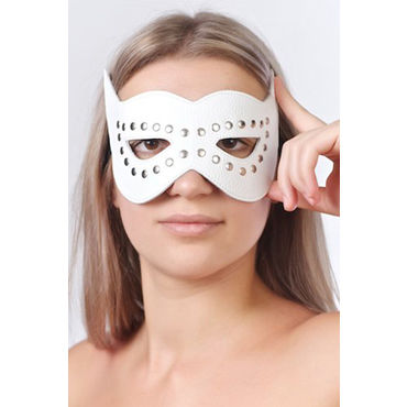 Sitabella маска, белая Кожаная, с велюровой подкладкой анальный массажер sexus glass 13 5 см