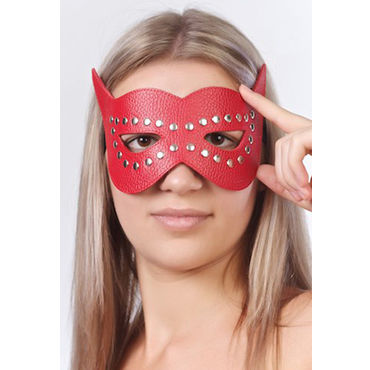 Sitabella маска, красная Кожаная, с велюровой подкладкой luna veneziana diavolo венецианская маска с кристаллами swarovski