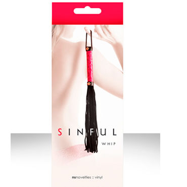 NS Novelties плетка Sinful Whip Многохвостая плетка иск кожа перья размер 35см