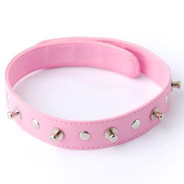 Sitabella ошейник, розовый С заклепками и шипами sitabella ошейник белый широкий с шипами и поводком