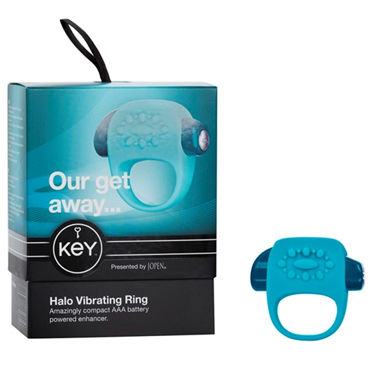 Jopen Key Halo, голубой Виброкольцо со стимуляцией клитора ц ouch wooden bridle с фиолетовым ремешком