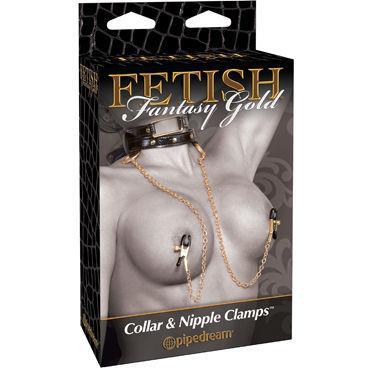 Pipedream Gold Collar and Nipple Clamps Стильный ошейник с зажимами для сосков erolanta пеньюар и стринги белые с кружевной каймой