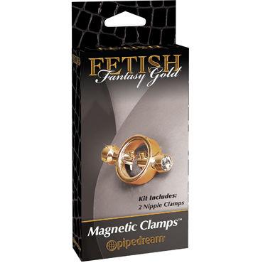 Pipedream Gold Magnetic Clamps Стильные зажимы для сосков накладки на соски материал спандекс