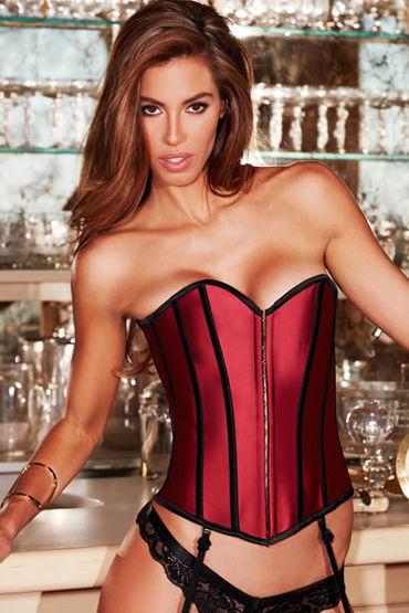 Baci Satin Heart Corset, красный Корсет с подтяжками для чулок у baci essential satin leather corset