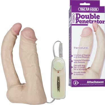 Doc Johnson Double Penetrator Анально-вагинальная вибро-насадка женский нейтральный любрикант на водной основе jo 120 мл