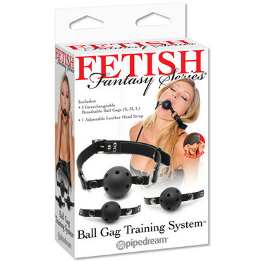 Pipedream Ball Gag Training System Набор из трех кляпов кляп scandal bar gag