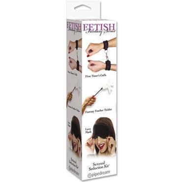 Pipedream Набор BDSM Наручники, стек с пером и маска плетка pipedream из перфорированной лаковой кожи