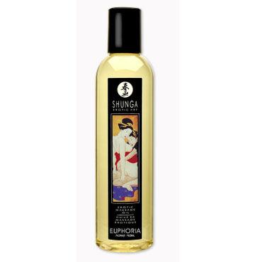Shunga Euphoria, 250 мл Массажное масло, цветочный аромат erotic fantasy all about anal butt plug розовый 6 5 см анальный плаг из ультра бархатистого силикона