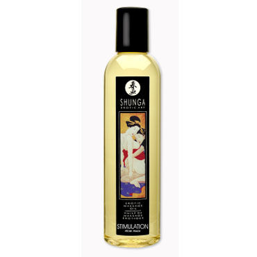 Shunga Stimulation, 250 мл Массажное масло, персик масло для массажа shunga excitation orange 250 мл