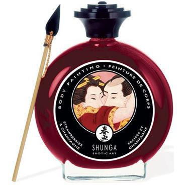 Shunga Body Painting, 100 мл Съедобная краска для тела, клубника и шампанское с soft line трусики
