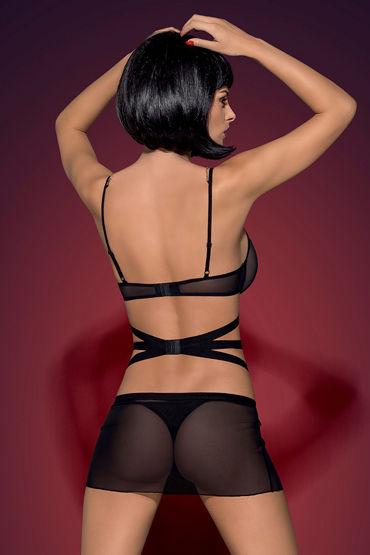 Obsessive Bondy, черный Открытая сорочка и трусики coquette комплект полупрозрачная сорочка и стринги