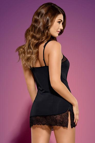 Obsessive Miamor, черный Сорочка с кружевной отделкой и трусики obsessive dotina сорочка трусики в комплекте