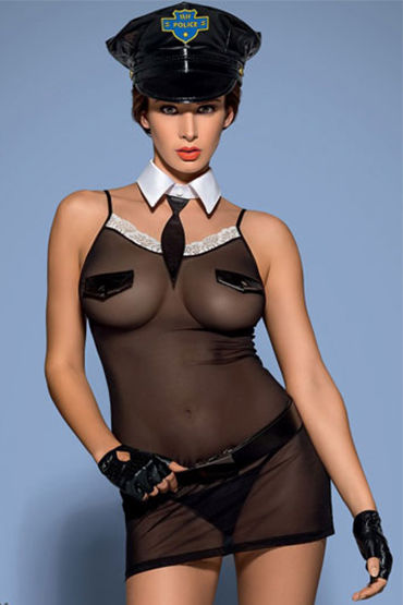 Obsessive Police 6 pcs chemise, черный Костюм офицера полиции obsessive julitta amazing set костюм невесты