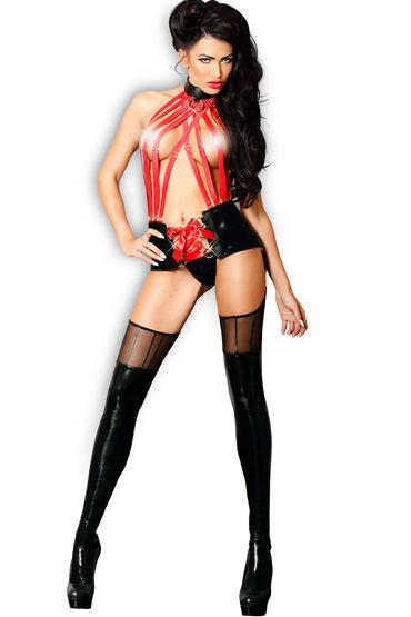 Lolitta Sensual, черно-красный Комплект из топа с поясом и чулок чулки gabriella 428 lana размер s m
