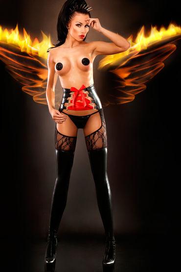 Lolitta Dominatrix, черные Колготки в виде чулок с высоким поясом lola toys super hero dewil телесная насадка реалистичная удлиняющая