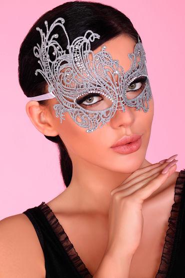 LivCo Corsetti Mask Model 1 Silver, серебристая Ажурная маска со стразами