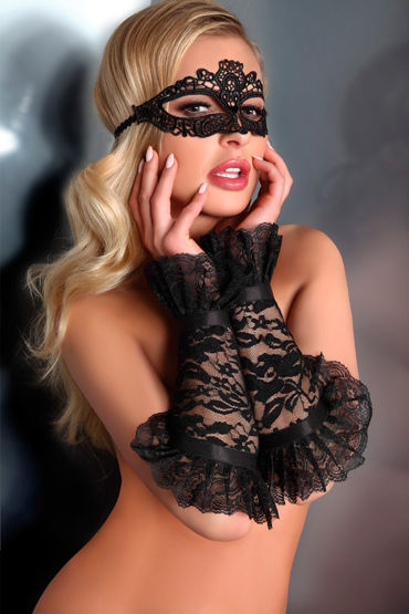 LivCo Corsetti Mask Model 5 Black, черная Ажурная маска на глаза