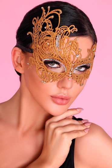 LivCo Corsetti Mask Model 1 Golden, золотая Ажурная маска со стразами livia corsetti mask black model 11 элегантная маска