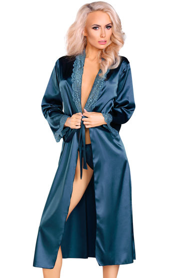 LivCo Corsetti Yasmeen, синий Пеньюар с кружевной отделкой livco corsetti frances коралловый пеньюар украшенный кружевом