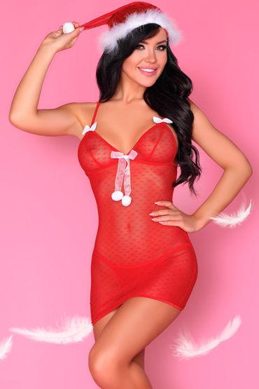LivCo Corsetti Laurita, красная Новогодняя сорочка, трусики и колпак pinxian сексуальное женское нижнее белье трусы секс стринги с принтом леопард