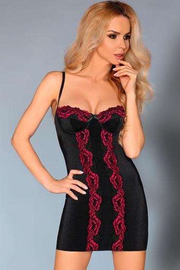 LivCo Corsetti Roanna, черная Сорочка с кружевом и трусики obsessive 2pcs set черный бюстгальтер и трусики