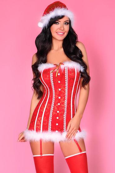 LivCo Corsetti Shyamala, красный Новогодний корсет, трусики и колпак pipedream basix rubber works 13 см телесный реалистичный фаллоимитатор с мошонкой