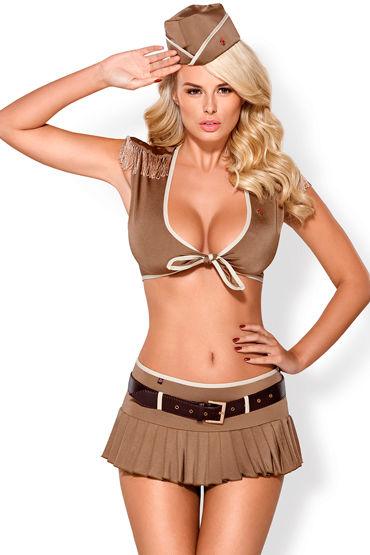 Obsessive костюм 814-CST-4, коричневый Из топа, юбки и головного убора ovo r4 виброяйцо белое на дистанционном управлении