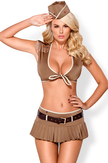 Obsessive костюм 814-CST-4, коричневый Из топа, юбки и головного убора вибратор fun factory joupie красный