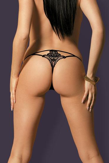 Obsessive Luiza, черные Трусики стринги с вышитым узоромм toyfa xlover утолщающая насадка со стимулирующими пупырышками