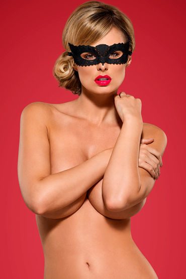 Obsessive маска A700, черная Из вышитого кружева obsessive garter belt