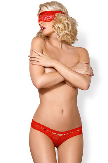 Obsessive комплект 822-SEA-3, красный Из плотной маски на глаза и трусиков воротнички и эротичные манжеты цвет белый