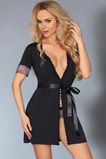 LivCo Corsetti Dina, черный Пеньюар и трусики livia corsetti luisanna пеньюар сорочка и трусики