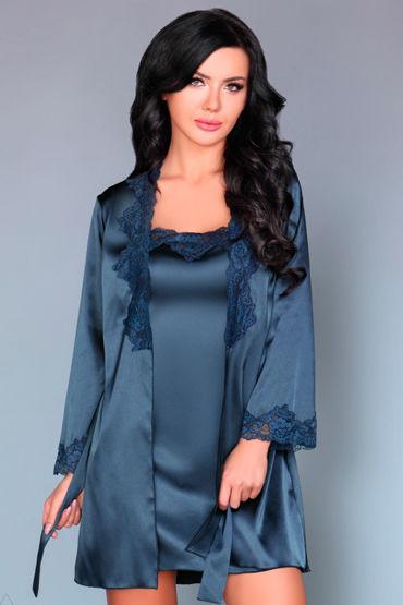 Livia Corsetti Jacqueline, синий Пеньюар, сорочка и трусики livia corsetti luisanna пеньюар сорочка и трусики