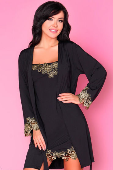 Livia Corsetti Loreli, черный Пеньюар, сорочка и трусики livia corsetti luisanna пеньюар сорочка и трусики